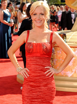 Actress Angela Kinsey arrives at the 61st Primetime Emmy Awards